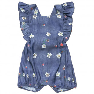 Denim babygrow with frilled shoulders and ladybug print (1-9 months)