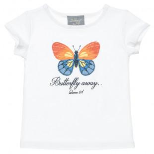 Μπλούζα με σχέδιο πεταλούδα απο glitter (2-5 ετών)