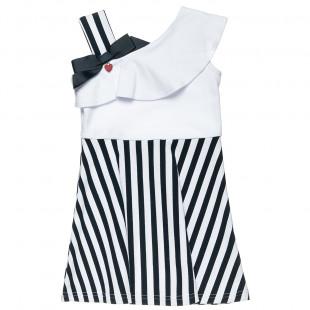 Φόρεμα με ρίγες, τιράντα στον ώμο και βολάν (18 μηνών-5 ετών)