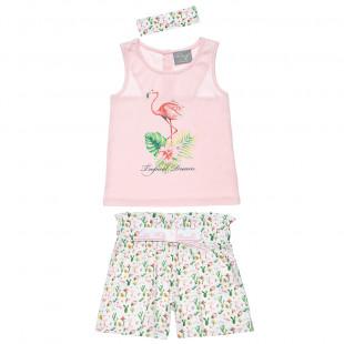 Σετ μπλούζα αμάνικη με σορτς με μοτίβο flamingo (12 μηνών-5 ετών)