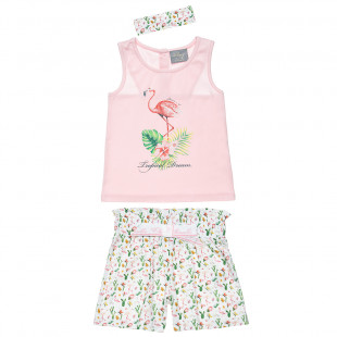 Set sleeveless top and shorts with flamingo print (12 months-5 years)