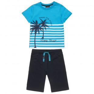 Σετ Five Star μπλούζα με τύπωμα φοίνικες και βερμούδα (6-14 ετών)