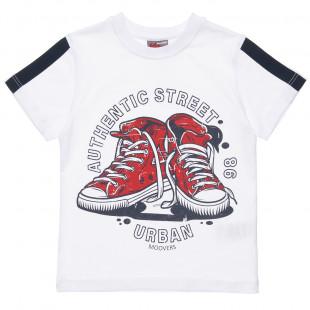 Μπλούζα απο 100% cotton και σχέδιο sneakers (6-16 ετών)