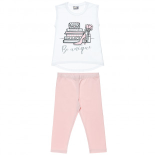 Set top with glitter details and leggings (4-16 years)