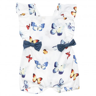 Babygrow with adjustable fasteners and butterfly print (1-6 months)