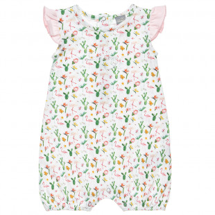 Babygrow with frilled shoulders and flamingo print (1-9 months)