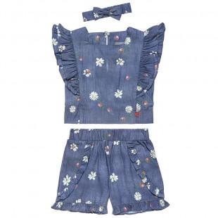 Σετ μπλούζα και σορτς με μοτίβο πασχαλίτσες και ασορτί κορδέλα (2-5 ετών)