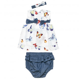 Set top with a back opening, undearwear/shorts and headband (3-18 months)
