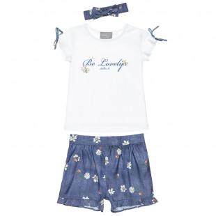 Σετ μπλούζα με glitter, σορτς τζιν και κορδέλα (18 μηνών-5 ετών)