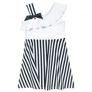 Φόρεμα με ρίγες, βολάν και τιράντα στον έναν ώμο (6-16 ετών)