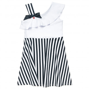 Stripe navy dress with frill trim at the front (6-16 years)