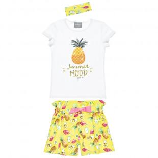 Σετ μπλούζα με παγιέτες, ψηλόμεσο σορτς και κορδέλα (4-14 ετών)