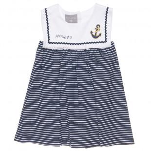 Φόρεμα navy look με κέντημα άγκυρα (9 μηνών-5 ετών)