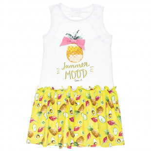 Dress with open back, print pineapple sequin and glitter detail (6-14 years)