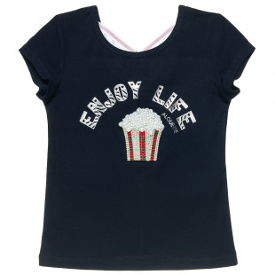 Μπλούζα με χιαστή δέσιμο πίσω και σχέδιο με πέρλες και στρας (6-16 ετών)