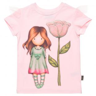 Μπλούζα Santoro με σχέδιο λουλούδι και glitter (6-14 ετών)
