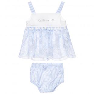 Σετ μπλούζα και βρακάκι με διάτρητα κεντήματα (3-18 μηνών)