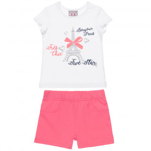 Set Five Star with glitter print detail and shorts (12 months-5 years)