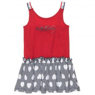 Φόρεμα με βολάν και στρας λεπτομέρεια (12 μηνών-5 ετών)