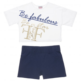 Set Five Star decorated with gold foil print and shorts (6-16 years)