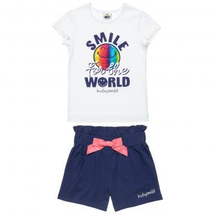 Σετ Smiley μπλούζα με foil τύπωμα και σορτς (6-12 ετών)