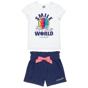Set Smiley top with foil print and shorts (2-5 years)