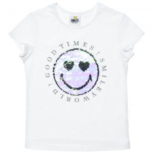 Μπλούζα Smiley με παγιέτες διπλής όψης (6-14 ετών)