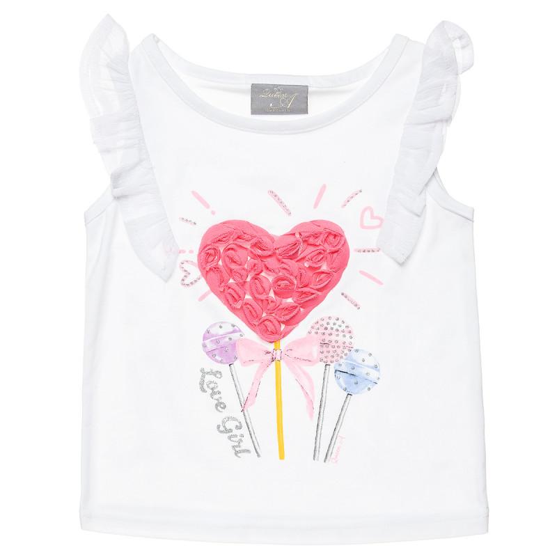 Μπλούζα με βολάν και ανάγλυφα λουλούδια (18 μηνών-5 ετών)