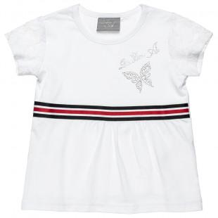 Μπλούζα με στρας και δαντέλα στα μανίκια (18 μηνών-5 ετών)