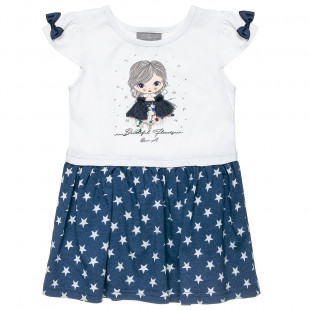 Φόρεμα με μοτίβο αστεράκια και διακοσμητικά φουντάκια (12 μηνών-6 ετών)
