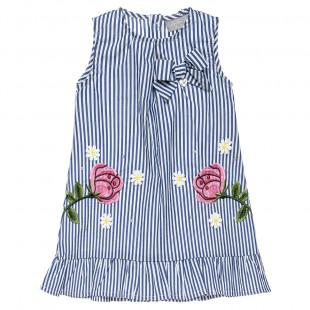 Φόρεμα ριγέ με κεντήματα και πέρλες (9 μηνών-5 ετών)