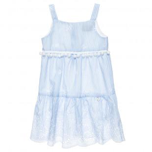 Φόρεμα ριγέ με διάτρητα κεντήματα και pom pon (18 μηνών-5 ετών)