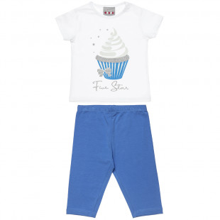 Set Five Star t-shirt with glitter and leggings (18 months-5 years)