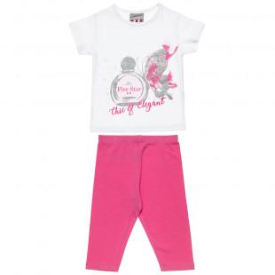 Σετ Five Star μπλούζα με glitter λεπτομέρεια και κολάν (18 μηνών-5 ετών)