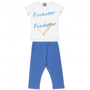 Set Five Star with foil print and leggings (6-16 years)