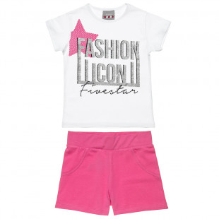 Set Five Star top with glitter detail and shorts (6-14 years)