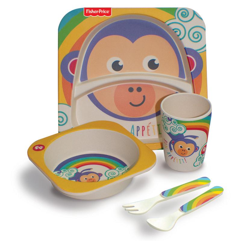 Σετ φαγητού Fisher Price 5τμχ με σχέδιο μαϊμουδάκι (6 μηνών+)