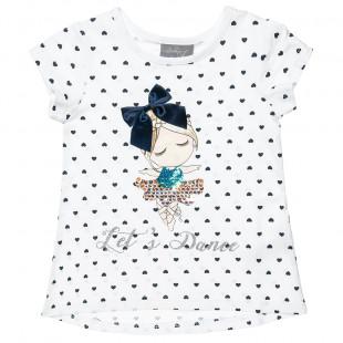 Μπλούζα με διακοσμητικό φιόγκο, παγιέτες και glitter (12 μηνών-5 ετών)
