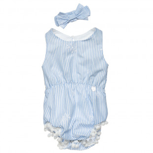 Babygrow with stripes, pom pon and hair ribbon (1-9 months)