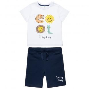 Σετ Smiley μπλούζα και βερμούδα με τύπωμα (12 μηνών-3 ετών)