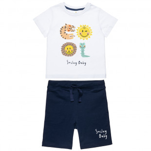 Set Smiley t-shirts and shorts with print (12 months-3 years)