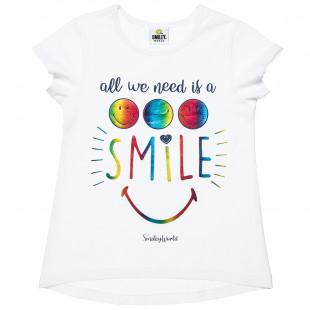 Μπλούζα Smiley με χρωματιστό foil τύπωμα (6-14 ετών)