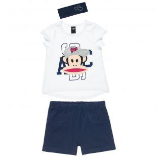 Σετ Paul Frank μπλούζα με τύπωμα, σορτς και κορδέλα (12 μηνών-5 ετών)