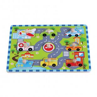"""Παιχνίδι παζλ απο φυσικό ξύλο """"Traffic peg"""" (1 έτους+)"""