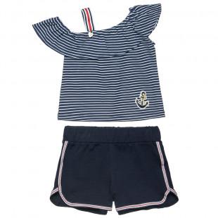 Σετ μπλούζα ριγέ με βολάν και σορτς (18 μηνών-5 ετών)