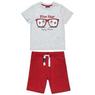 Σετ Five Star μπλούζα με τύπωμα και βερμούδα (6-14 ετών)