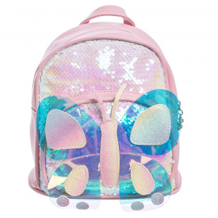 Backpack with sequin and 3D butterfly