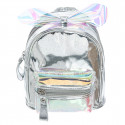 Backpack shiny silver & pink