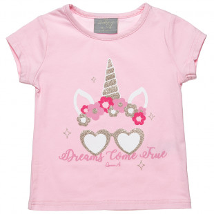 Μπλούζα με glitter στο τύπωμα (12 μηνών-5 ετών)