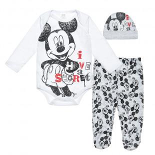 Σετ 3τμχ φορμάκι-παντελονάκι-σκουφάκι Disney Mickey Mouse (0-3 μηνών)